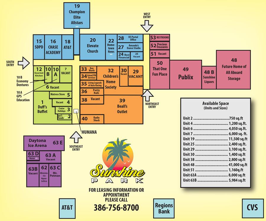 Daytona Florida Map.Retail Space Leasing Information South Daytona Flgo All Aboard